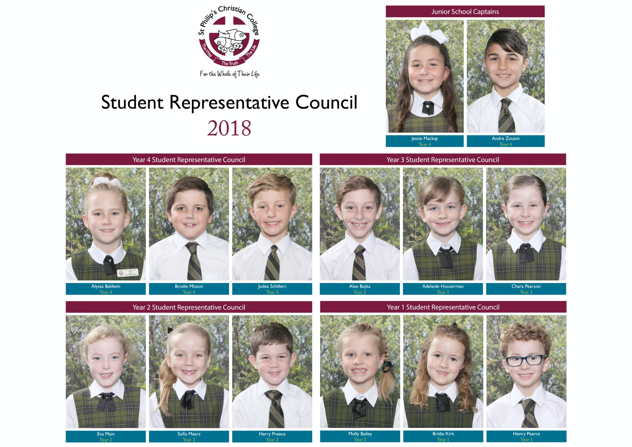 Student Leaders Junior School 2018