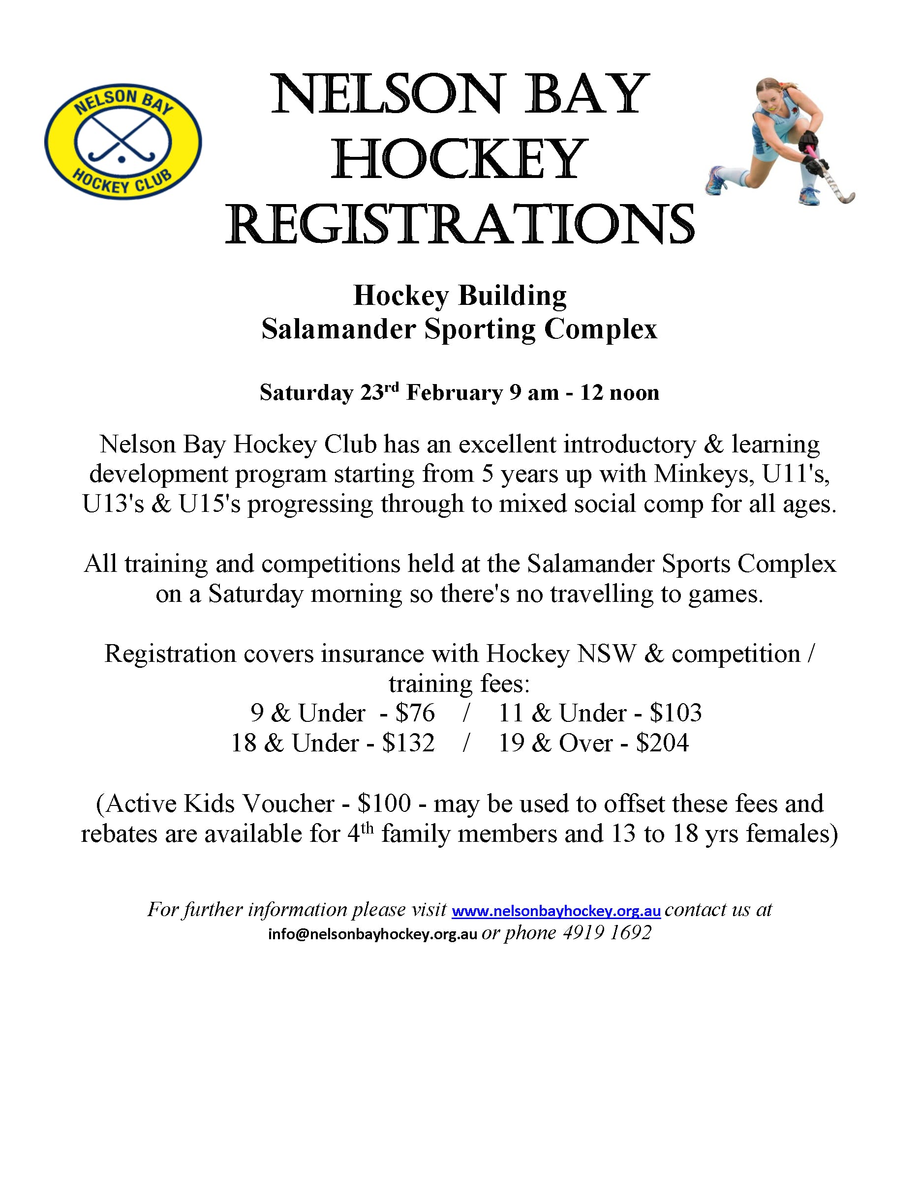 Nelson Bay Hockey Rego Flyer 2019